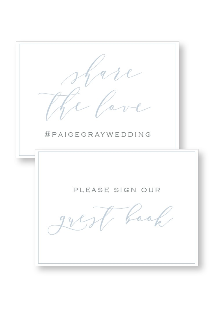 Periwinkle Ceremony & Reception Small Signage | Paper Daisies Stationery