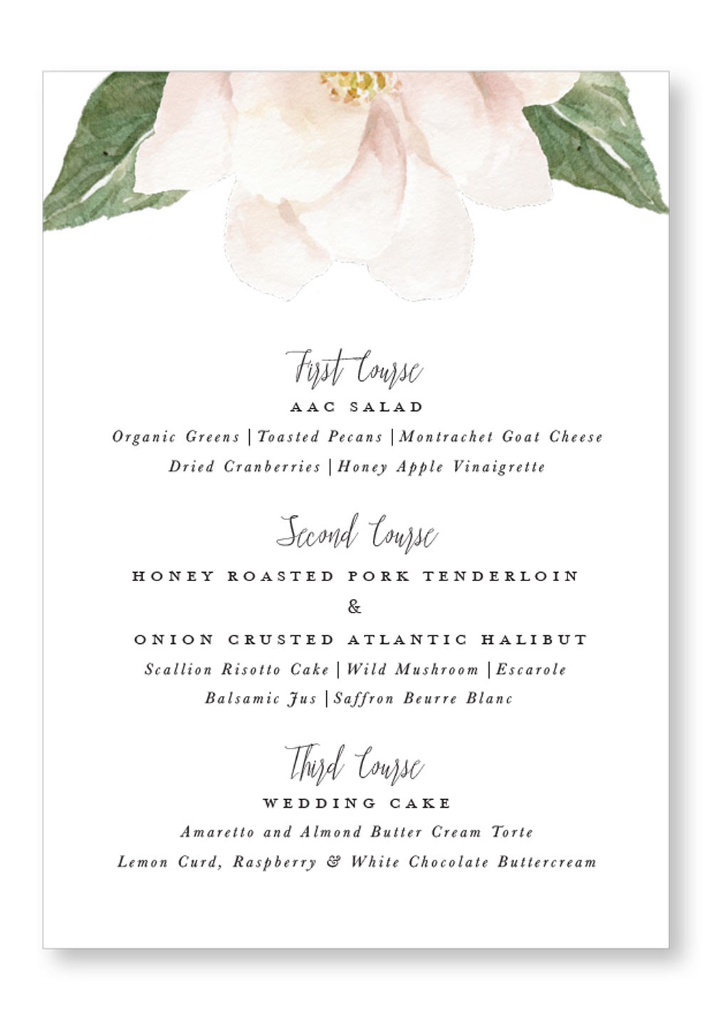 Dogwood | Whimsical Dinner Menu | Paper Daisies Stationery