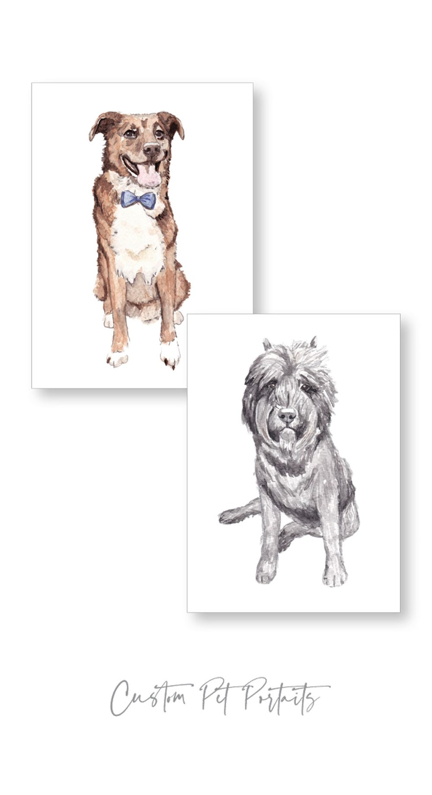 Watercolor Dog Paintings | Paper Daisies Stationery