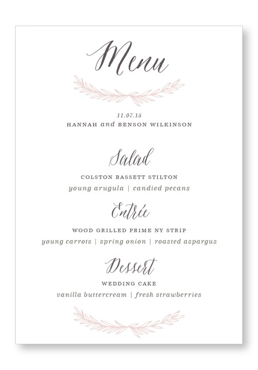 Queen Anne's Lace Menu