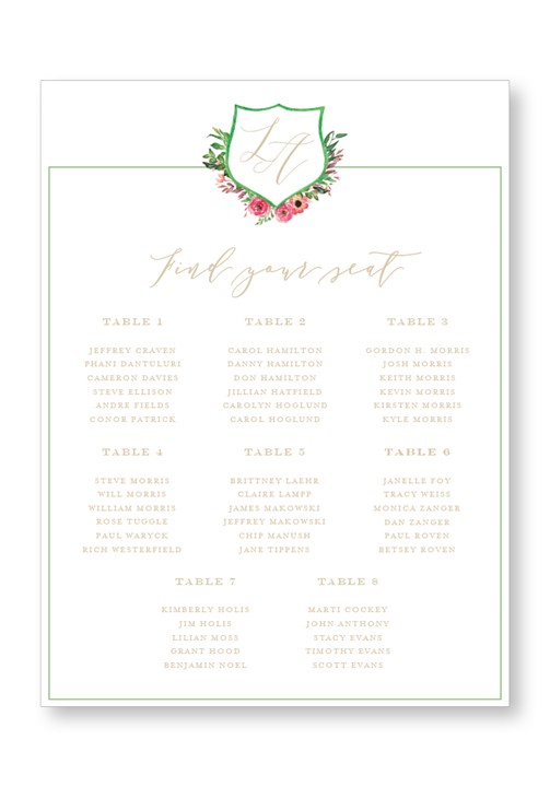 Amaryllis Seating Chart