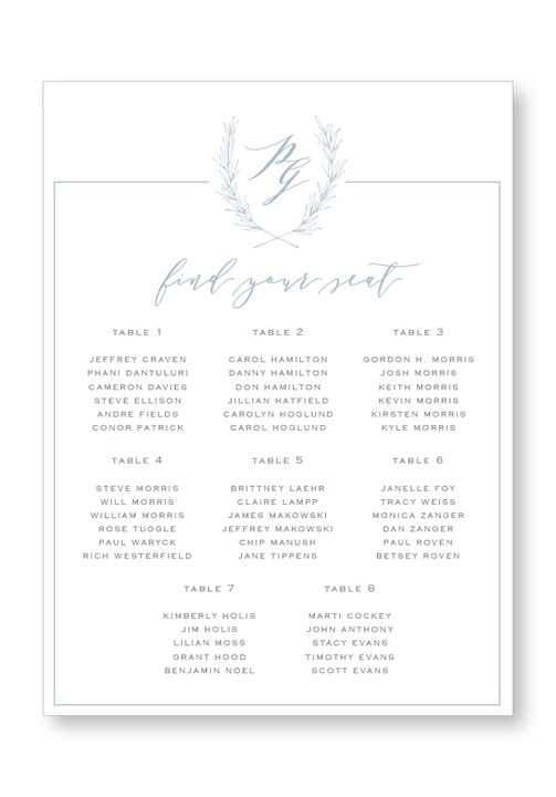 Periwinkle Seating Chart