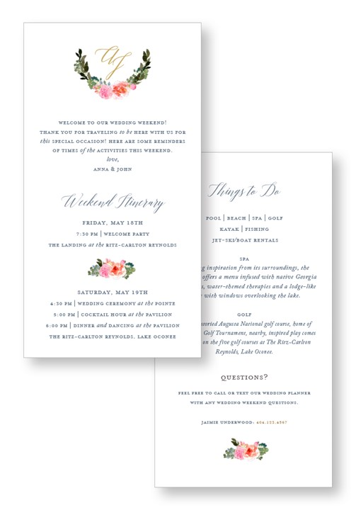 Bouquet Itinerary