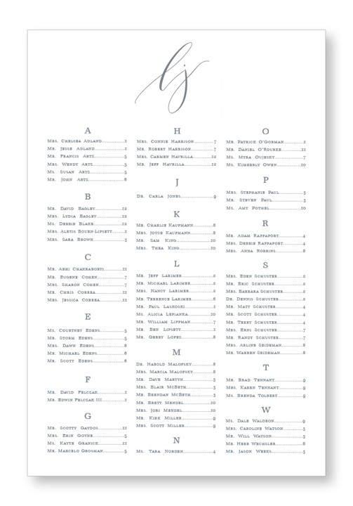 Dendrobium Seating Chart